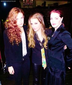February 1, 2014: Lisa Marie Presley with her daughter Riley Keough and her mother Priscilla Presley at her birthday party.