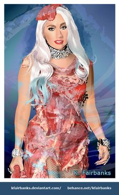 """Vector drawing of Lady Gaga by K. Fairbanks  Title: """"Lady TarTare"""" 