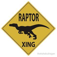 'Raptor Xing' Sticker by thekohakudragon Leo Birthday, Kids Birthday Themes, Dinosaur Birthday Party, Festa Jurassic Park, Halloween Bags, Jurassic World, Dinosaur Hunter, Bernardo, Parties