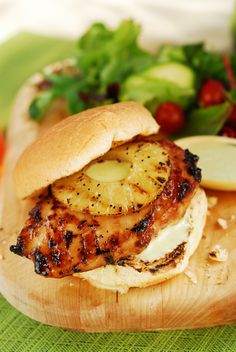 Pineapple Chicken Burger with Wasabi Mayo  Never had this but it sounds freaking good!!