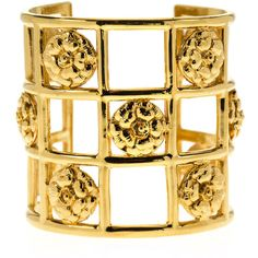 Pre-owned Chanel Vintage Caged Camellia Cuff (9,245 CNY) ❤ liked on Polyvore featuring jewelry, bracelets, gold, gold tone bangles, gold jewelry, chanel bracelet, cuff bracelet and gold bracelet bangle