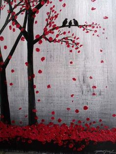 Thanks SO MUCH for Visiting my Gallery. To see close ups please click on above images -Artwork description: Trees and birds -Size:16 x 20 x 0.5 CANVAS WILL ARRIVE WIRED READY TO HANG. -Medium: acrylic on canvas. -Dominant Colors: red, black, grey,white. -FINISH: Coats of Varnish