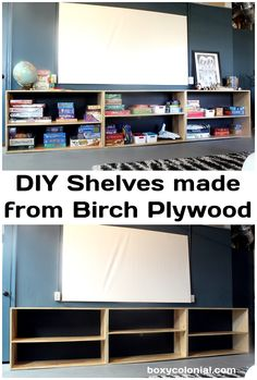 Make these modern shelves for game or toy storage from birch plywood: simple beginning woodworking project!