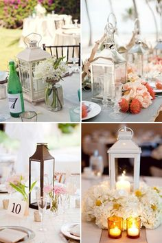 Don't have enough in the wedding budget for lavish floral centerpieces? Lanterns are always a cheap and easy centerpiece idea to create a romantic vintage ambiance for your wedding reception.