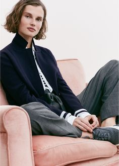 J. Crew Merino Wool Sweater-Blazer with Stripe Lining, Thomas Mason for J. Crew Boy Shirt, New Perfect Fit T-Shirt in Stripe, Tie-Waist Pant in Wool Flannel and SeaVees for J. Crew Legend Sneakers