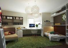 Farbgestaltung fürs Jugendzimmer – 100 Deko- und Einrichtungsideen - grün weich fell zimmer raum schreibtisch teppich teenage