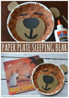 Paper Plate Sleeping Bear {Kid Craft} Childrens Book Inspired - Bear Snores On - Winter DIY Idea Bear Crafts Preschool, Daycare Crafts, Classroom Crafts, Preschool Activities, Winter Diy, Winter Crafts For Kids, Teddy Bear Crafts, Paper Plates, Craft Ideas