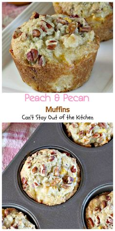 Peach and Pecan Muffins | Can't Stay Out of the Kitchen | these tasty muffins are filled with peaches and pecans and stay moist because sour cream is included in the batter. I'd switch peaches for apples.