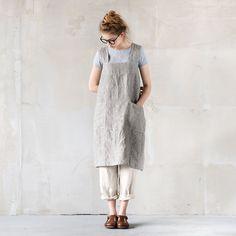Linen pinafore apron / square cross linen apron / japanese