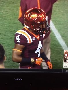 Virginia Tech RB JC Coleman decided to wear a watch in last nights game against Ohio State. Photo via Cleveland Sports Nation.
