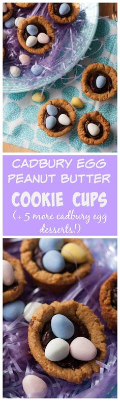 Peanut Butter Cadbury Cookie Cups- adorable peanut butter cookie filled with ganache and topped with Cadbury Eggs and GLUTEN FREE TOO!