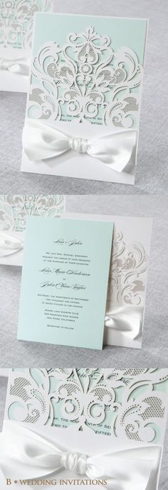 Classy Laser Cut Wedding Stationery with White Bow by B Wedding Invitations #weddinginvitation