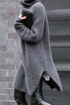 Stylish Turtleneck Long Sleeve Pure Color Side Slit Women's Sweater Sweaters & Cardigans | RoseGal.com Mobile