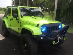 """Easy Install Halos """"Multi-Colored COBs"""" for the Jeep Wrangler Green Jeep, Blue Jeep, 4x4, Badass Jeep, Automotive Group, Jeep Accessories, Jeep Life, Easy Install, Dream Cars"""
