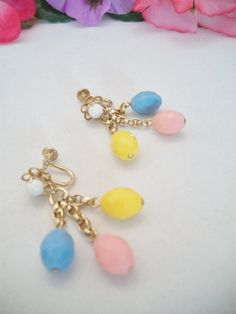 colorful faceted oval screw back earrings by ALEXLITTLETHINGS, $8.99