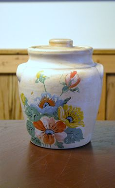 Vintage Pottery Crock with Lid Hand Painted by PanchosPorch, $25.00