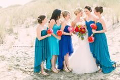 bridesmaid dresses different shades of blue - Google Search