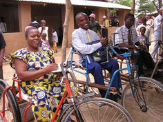 Our physically-challenged refugee brothers came to the assembly on their wheelchair bicycles.  Lugufu Refugee Camp, Tanzania.