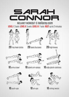 """Thank you, Visual Workouts, for the Sarah Connor Workout. """"Perfect for: Preparation for the fight against the machines.""""  And over 100 more. MockingJay, Pillow Fight, Batman, Jason Bourne, Star-Lord, one called """"Don't Panic & Carry A Towel"""", another involving a sofa.... If it's geek, it's probably here.    http://neilarey.com/workouts.html"""