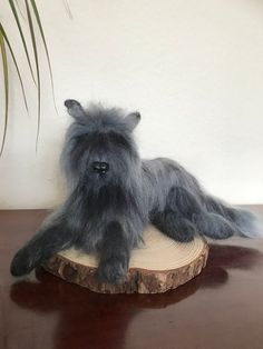 Edward the Woofy Cat. Needle felted long haired doggy/cat from my Wacky Wonders Collection. Head of a dog , body of a cat making him a magical mystery. Handcrafted using sharp pointed needles , continuously stabbing natural core wool until the shape is. Needle Felted Animals, Felt Animals, Needle Felting, Grey Dog, Grey Cats, Felt Gifts, Felt Dogs, Quirky Gifts, Soft Sculpture