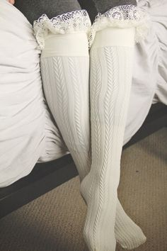 Sweet Cream Frilly Lace Boot Sock, Textured, High Rise, Opaque