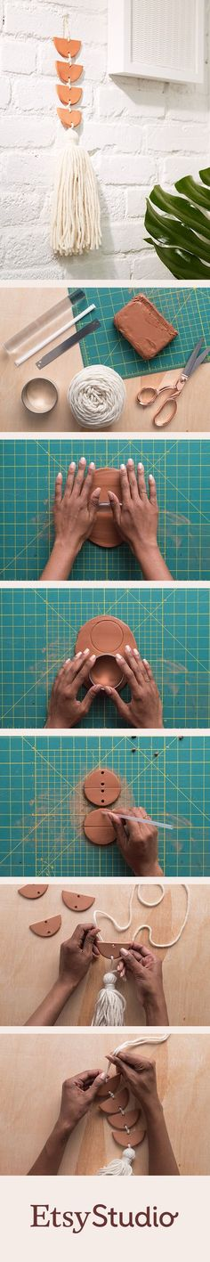 Transform humble materials, like air-dry clay and yarn tassels, into beautiful minimalist wall decor.