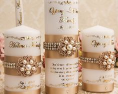 Personalized Wedding Unity Candle Set Gold Family Wedding Candles Set Champagne Unity Candle Set Memory Candle Wedding, Wedding Unity Candles, Unique Candles, Pillar Candles, Henna Candles, Candle Art, Wedding Memorial, Personalized Wedding, Wedding Accessories