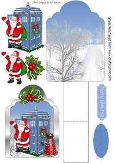 Dr Who and his tardis in the snow easel card on Craftsuprint - Add To Basket!