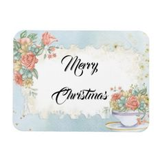 Vintage Bouquet of Flowers Merry Christmas Wishes Magnet - Xmas ChristmasEve Christmas Eve Christmas merry xmas family kids gifts holidays Santa