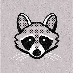 Day 4   A Raccoon (4/365) #raccoon #animals #365 #raccoonillustration #365project #365series #illustration #texture #halftone #grey #365animals