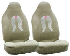 Girly Car Seat Covers | Girly Rhinestone Angel Wings Tan Car Auto Seat Cover Set