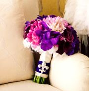 really love the different shades of purple in this bouquet - I wonder what flowers are in there
