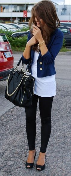 Perfect travel outfit: Black Leggings, Simple Long White Tee, Navy Jacket