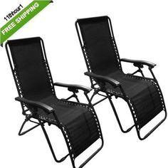 2 Zero Gravity Chairs Pair Black Pool Lounge Patio Furniture Outdoor Yard Beach