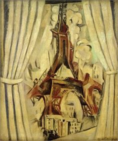 """artist-delaunay: """"Window, Eiffel Tower by Robert Delaunay """" Sonia Delaunay, Robert Delaunay, Georges Braque, Pablo Picasso, Torre Eiffel Paris, Eiffel Tower Painting, Modern Art, Contemporary Art, Oil Painting Reproductions"""