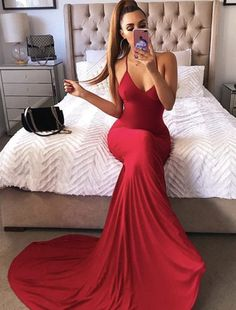 Sexy V Neck Long Prom Dress,spaghetti Straps Party Dress,red Evening Dress on Luulla Chiffon Evening Dresses, Backless Prom Dresses, Evening Gowns, Evening Party, Bridesmaid Dresses, Photos Of Dresses, Blue Ball Gowns, Colored Highlights, Formal Dresses For Women