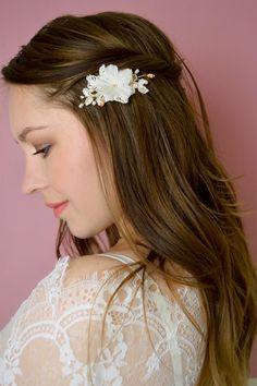 Bridal Lace Hair Pin Crystal Pearls Hair by JanaRoyaleDesign