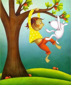 swinging girl and dog (by Paula Metcalf)