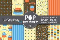 Birthday Party Boy - digital paper by POP print on paper on @creativemarket