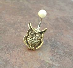 Gold Owl Belly Button Jewelry Ring with Ivory Pearl