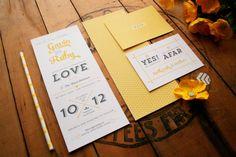 Tea length wedding invitations. Bright lemon houndstooth patterned skinny invite set with arrows. on Etsy, $30.00