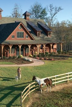 magnificent post-and-beam barn, multiple pastures with shelters, and a riding arena and pen. Barndominium, Dream Barn, My Dream Home, Horse Ranch, Ranch Life, Ranch Farm, Horse Barns, Horse Stables, Horse Paddock