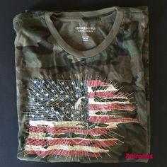 c4ebd4bd0a NWT Ralph Lauren Denim   Supply Graphic Camo Army USA Flag   Eagle Shirt  Large