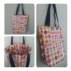 Shopper tote bag made with a waterproof outer and lining fabric. Can be ordered from facebook.com/sunnsparkles