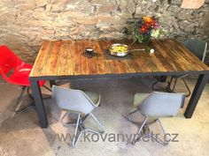 Big Loftable made from steel and old used wood. Industrial Design, Retro Vintage, Dining Table, Rustic, Steel, Big, Wood, Furniture, Home Decor