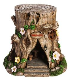 Solar Lighted Tree Stump Fairy House Garden | Colorful Impressions
