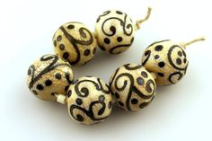 Lampwork Glass Beads Set SRA Matte Etched by StoneDesignsbySheila