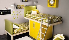 Breathtaking Tumidei Yellow Green Shared Kids Room Design with Cool Space Saving Furniture Set Featuring Loft Bed with Nice Decorative Bed Covers, Small 2 Doors Wardrobe Underneath, and Cool Wall Clock Design Modern Kids Bedroom, Modern Bunk Beds, Childrens Bedroom, Bedroom Boys, Master Bedroom, Bunk Bed Designs, Shared Bedrooms, Girl Bedrooms, Awesome Bedrooms