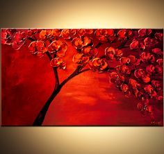 Original abstract art paintings by Osnat - textured painting of blooming red tree