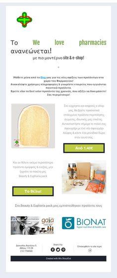 Το We love pharmacies ανανεώνεται!  με πιο μοντέρνο site & e-shop! Pharmacy, Blog, Shopping, Apothecary, Blogging